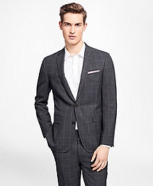 Windowpane Stretch-Wool Suit Jacket