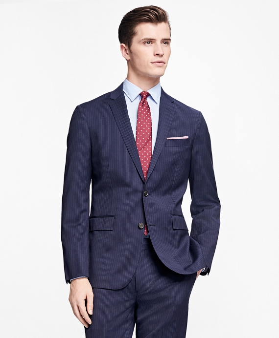 Pinstripe Stretch-Wool Suit Jacket Navy