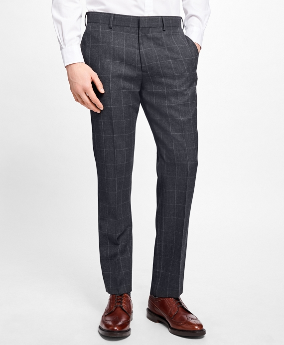 Slim-Fit Windowpane Stretch-Wool Trousers