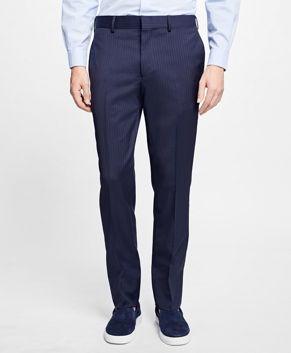 Slim-Fit Pinstripe Stretch-Wool Suit Trousers Navy
