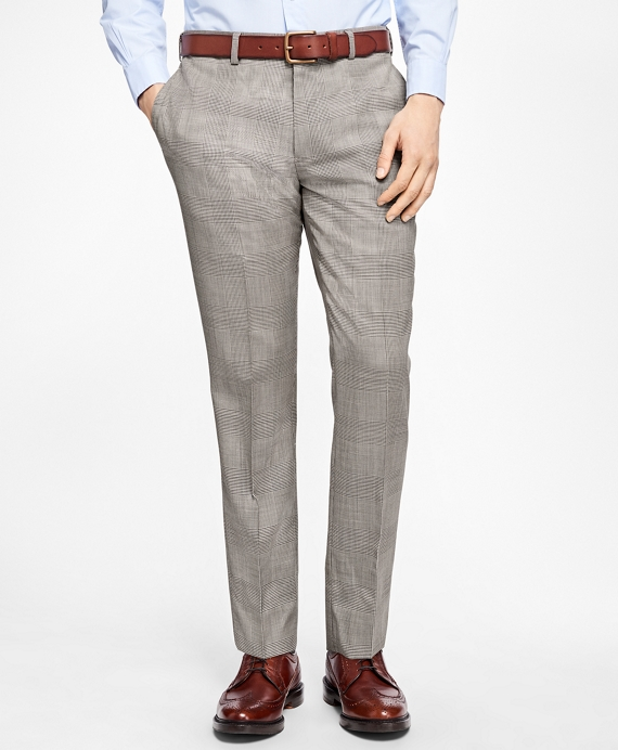 Slim-Fit Plaid Stretch-Wool Trousers Black-White