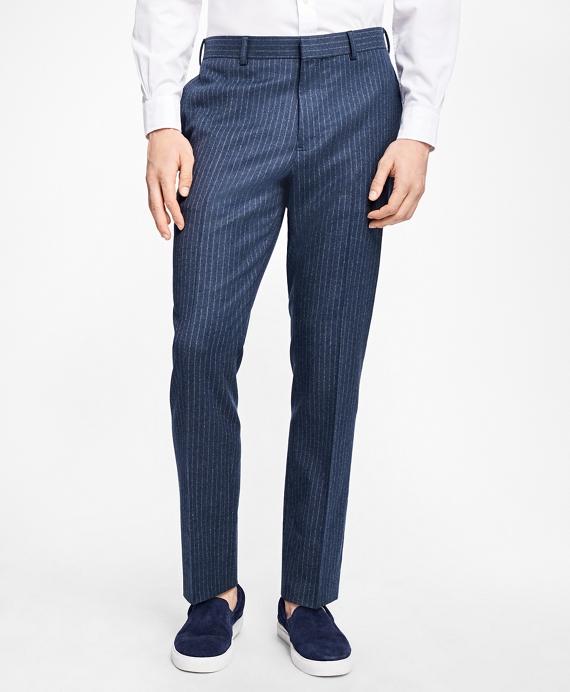 Slim-Fit Chalk-Stripe Stretch-Wool Suit Trousers Blue