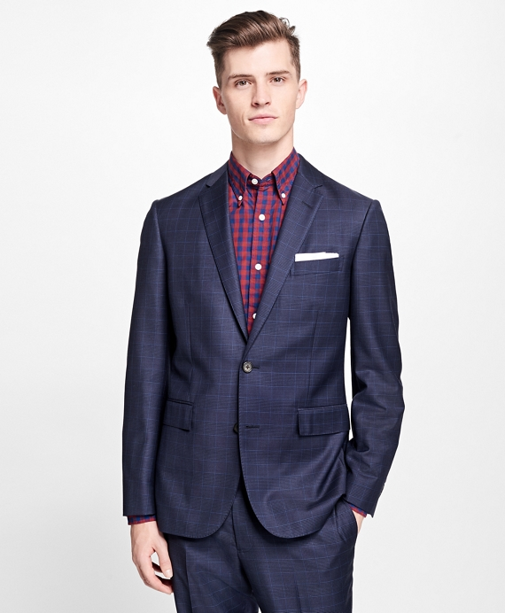 Plaid Stretch-Wool Suit Jacket Blue