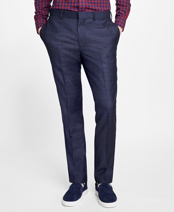 Slim-Fit Plaid Stretch-Wool Suit Trousers