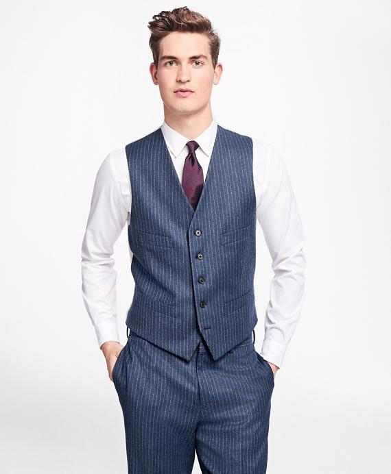 Chalk Stripe Stretch-Wool Button-Front Vest