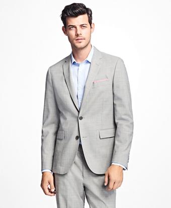 Sharkskin Stretch-Wool Suit Jacket