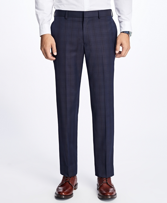 Slim-Fit Plaid Stretch-Wool Suit Trousers Navy
