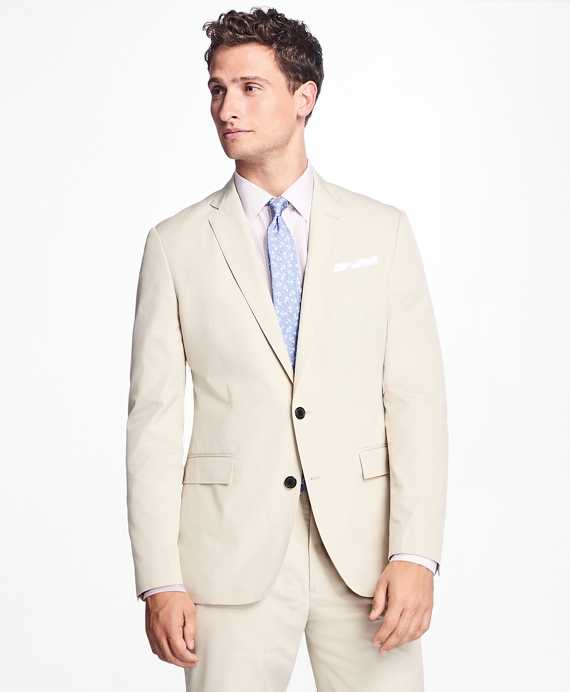 Two-Button Cotton Suit Jacket Stone