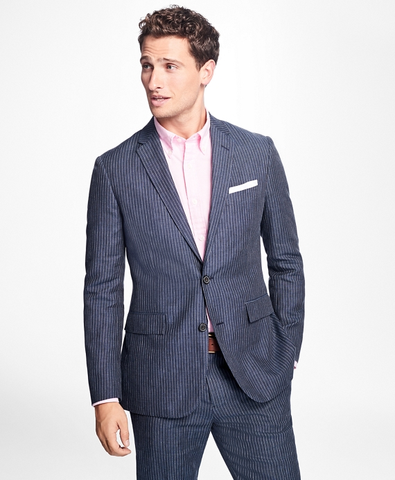 Two-Button Pinstripe Linen Suit Jacket Navy