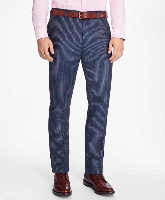 Slim-Fit Pinstripe Linen Suit Trousers Navy
