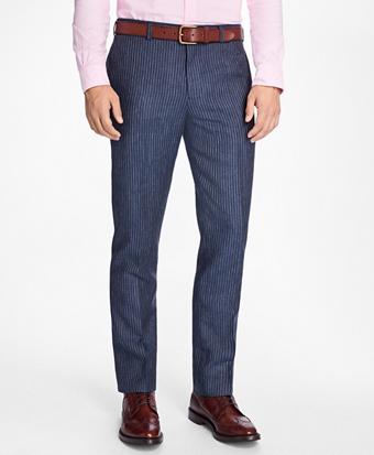 Slim-Fit Pinstripe Linen Suit Trousers