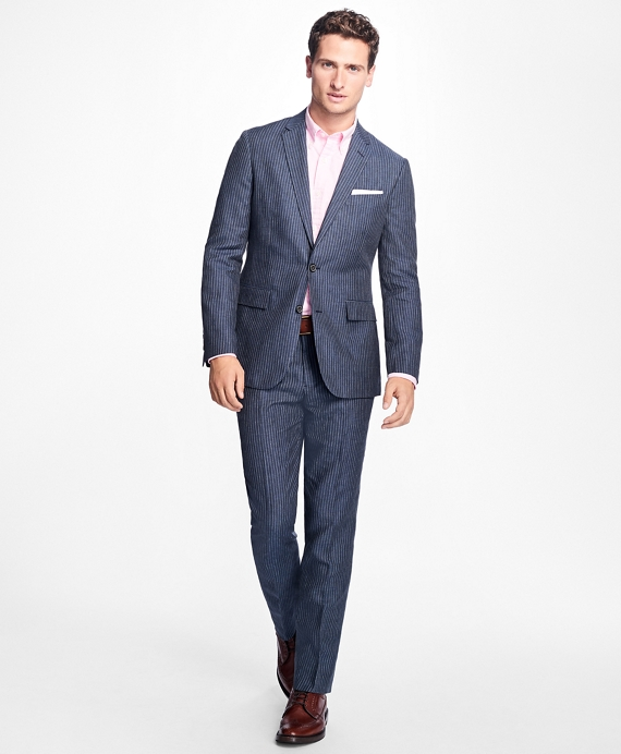 Slim-Fit Pinstripe Linen Suit Trousers - Brooks Brothers