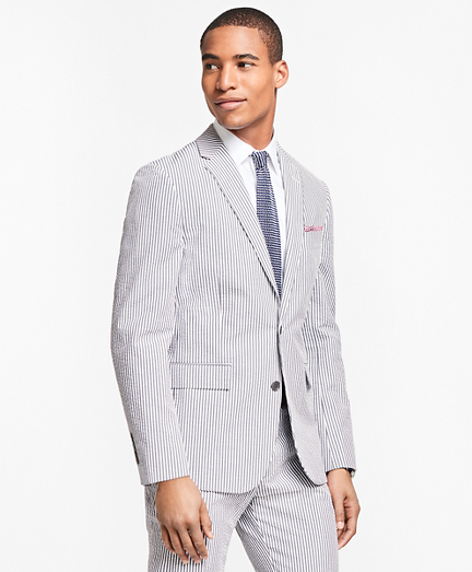 Stripe Cotton Seersucker Suit Jacket