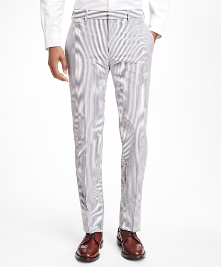 Stripe Cotton Seersucker Suit Trousers