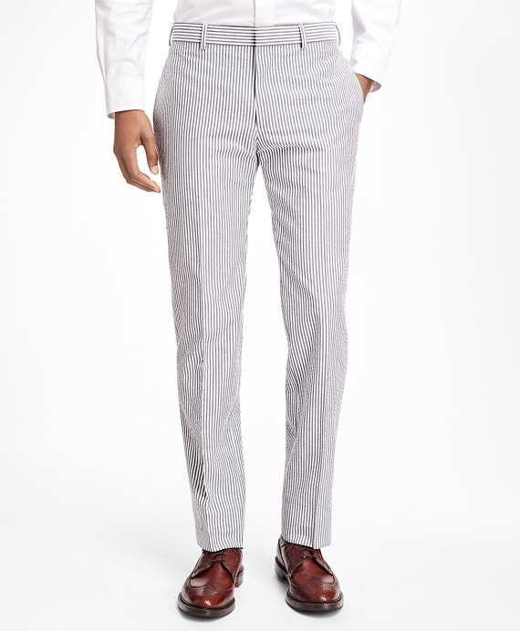 Stripe Cotton Seersucker Suit Trousers Black-White