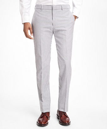 Stripe Cotton Seersucker Suit Trousers