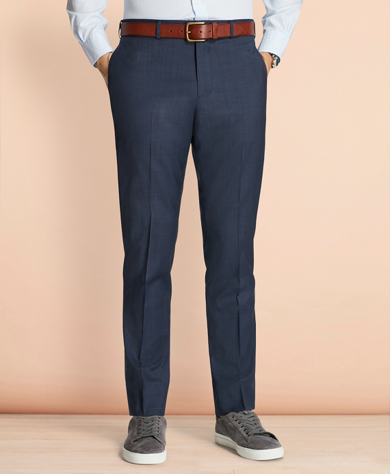 Tick-Weave Wool Suit Trousers Navy