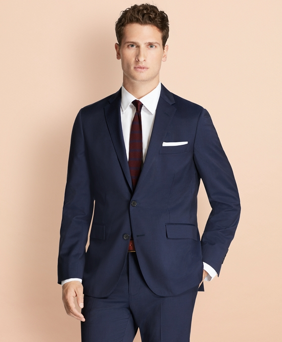 Alternating Pinstripe Wool Suit Jacket Navy