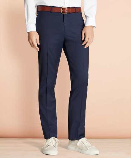 Alternating Pinstripe Wool Suit Trousers