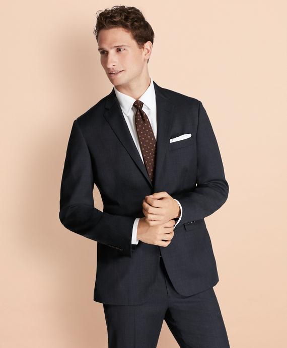 Plaid Wool Suit Jacket Navy