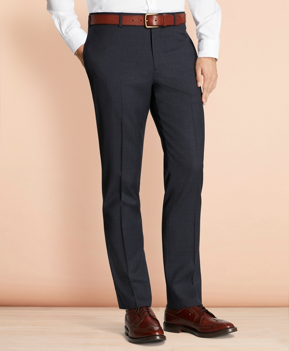 Plaid Wool Suit Trousers Navy