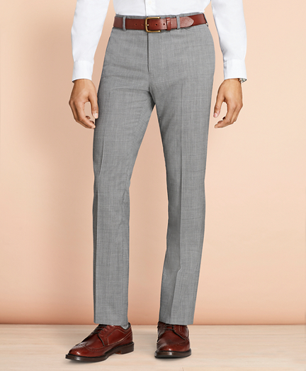 Tick-Weave Wool Suit Trousers