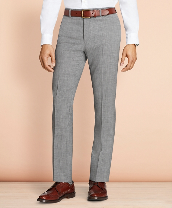 Tick-Weave Wool Suit Trousers Grey