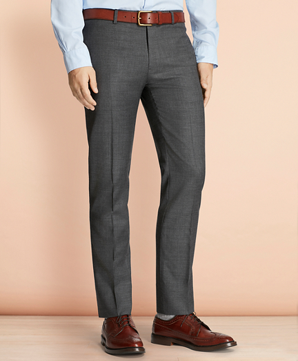 Sharkskin Wool Suit Trousers