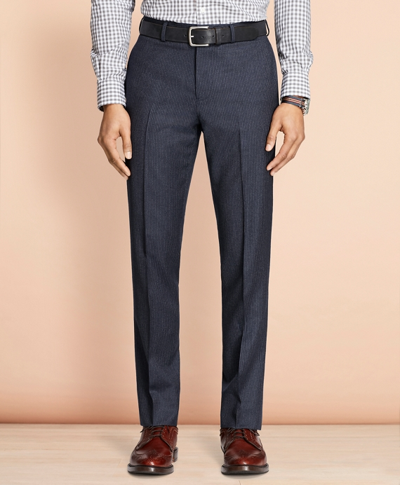 Pinstripe Wool Trousers Navy