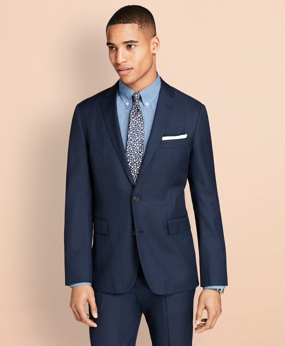 Windowpane Wool Suit Jacket Navy