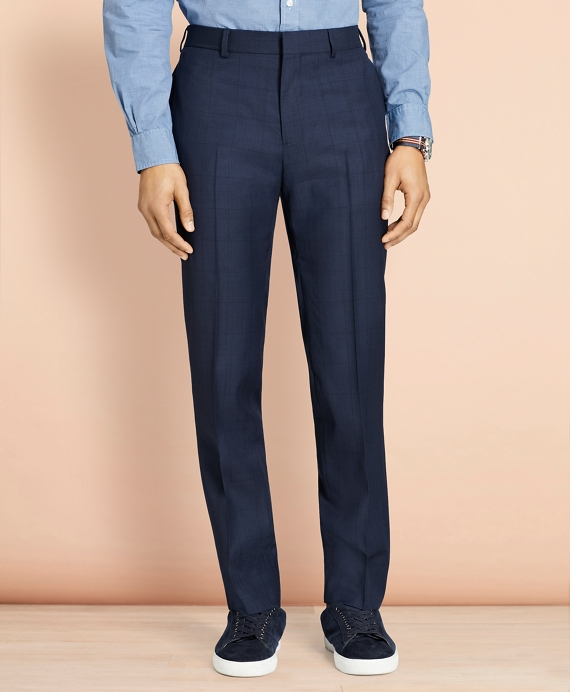Windowpane Wool Trousers Navy