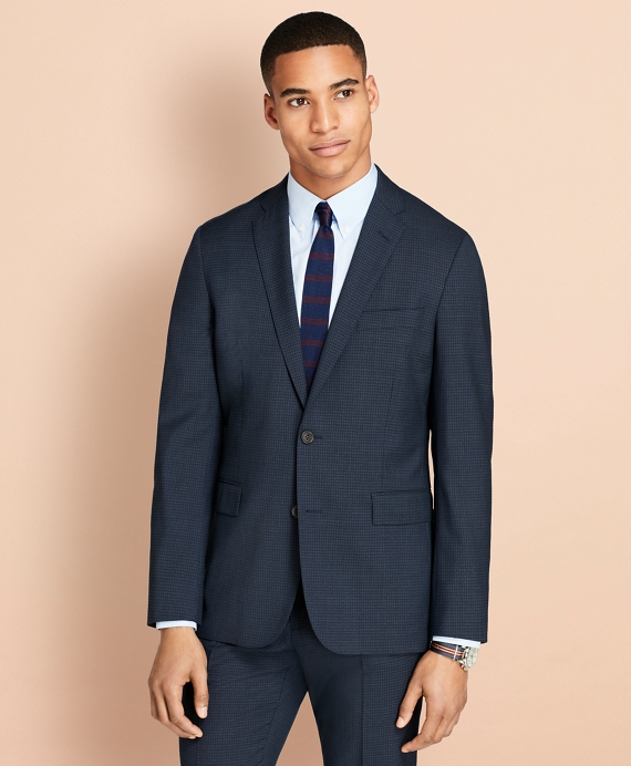 Parquet Wool Suit Jacket Navy