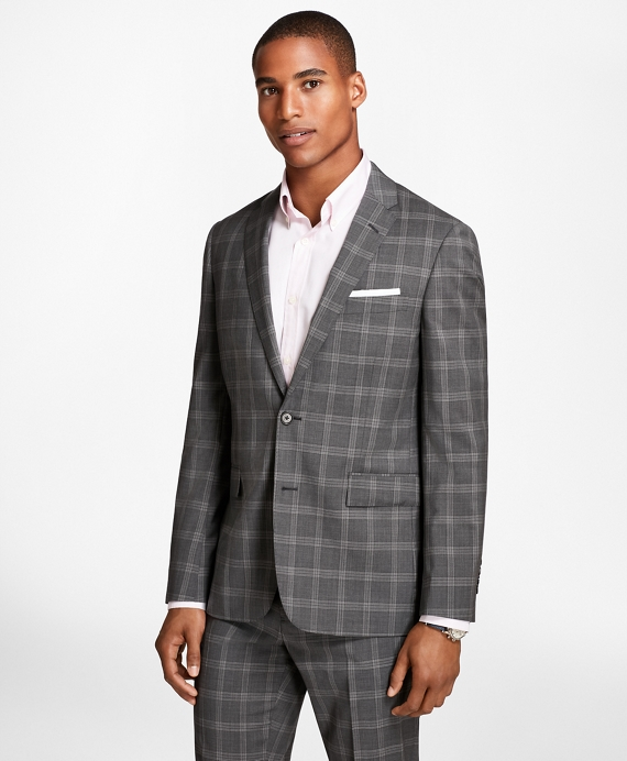 Plaid Wool Suit Jacket Grey