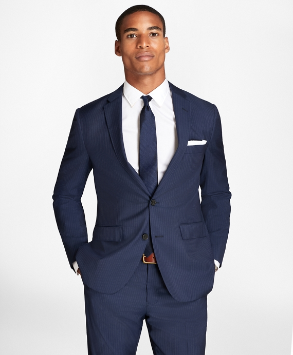 Pinstripe Wool Suit Jacket Blue