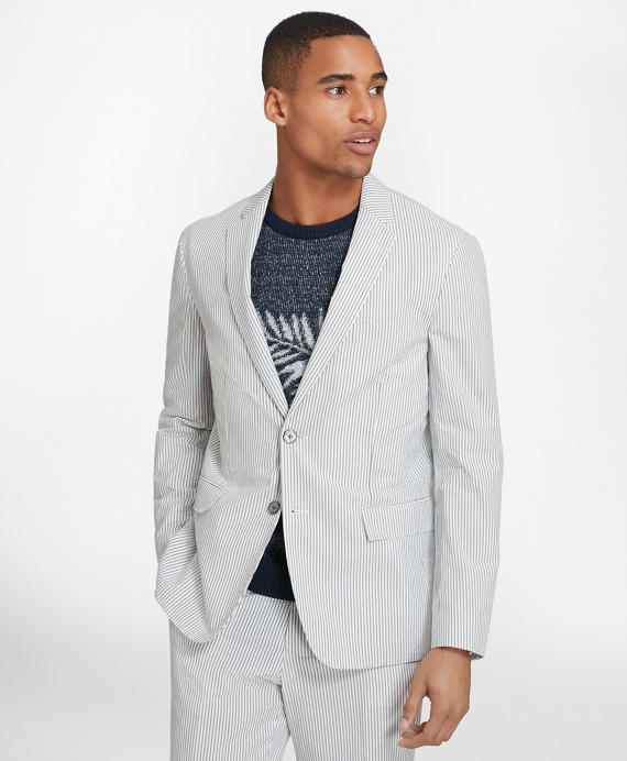 Two-Button Seersucker Sport Coat Grey
