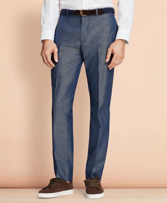 Cotton-Mohair Suit Trousers Blue