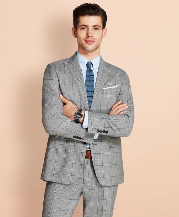 Windowpane Two-Button Wool Suit Jacket Grey