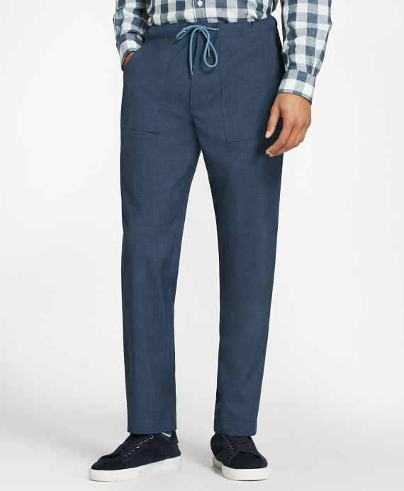 Wool Drawstring Suit Trousers Blue