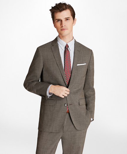 Multi-Check Two-Button Wool Suit Jacket