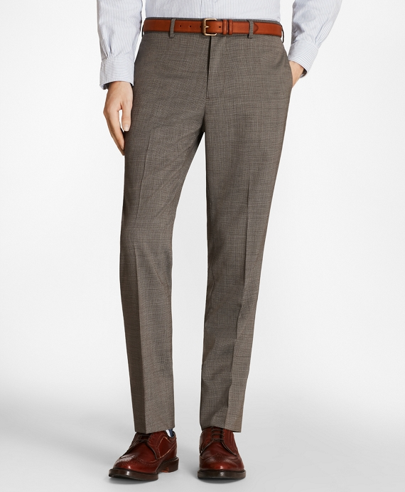 Multi-Check Wool Suit Trousers Grey