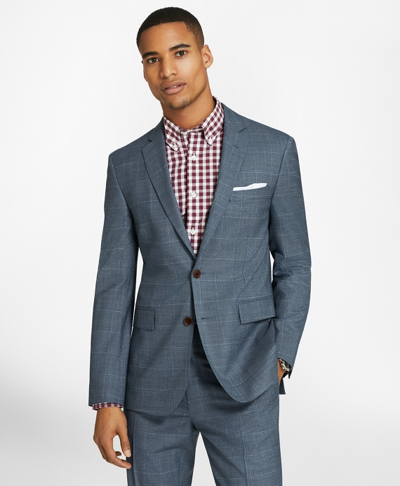 Windowpane Two-Button Wool Twill Suit Jacket Blue
