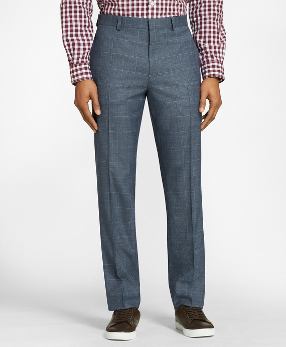 Windowpane Wool Twill Suit Trousers Blue