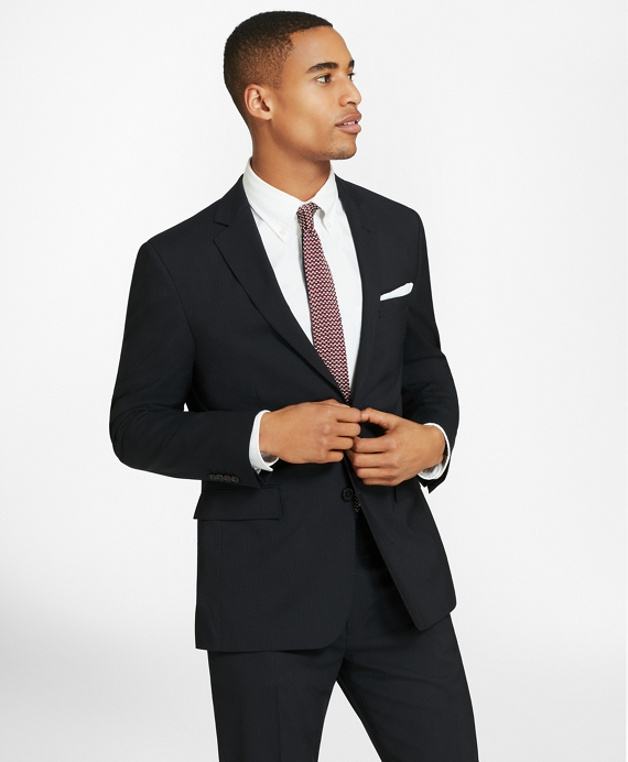 Two-Button Pinstripe Wool Suit Jacket Navy