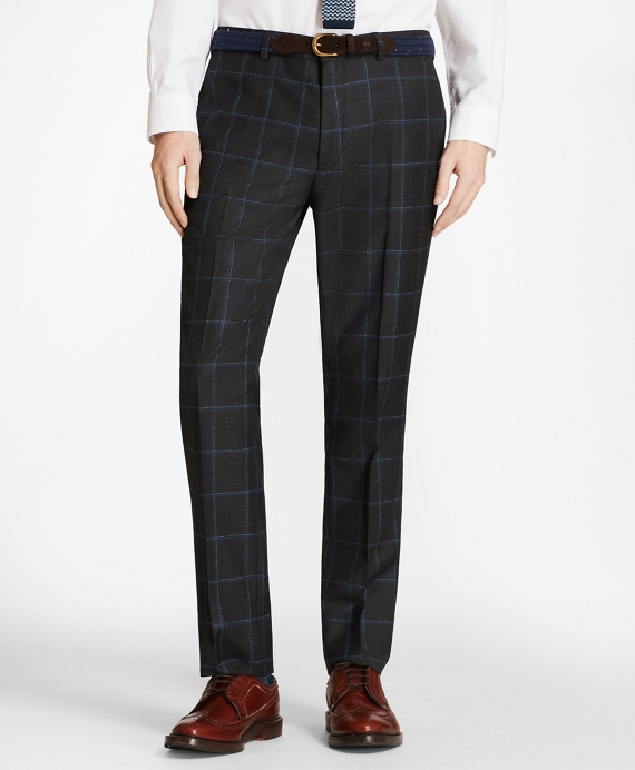 Windowpane Wool Twill Suit Trousers Grey-Blue
