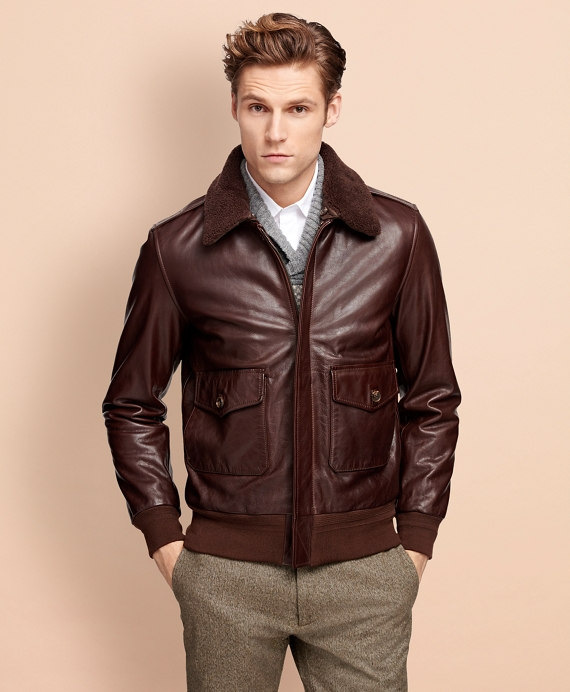 Men&39s Brown Leather Bomber Jacket | Brooks Brothers