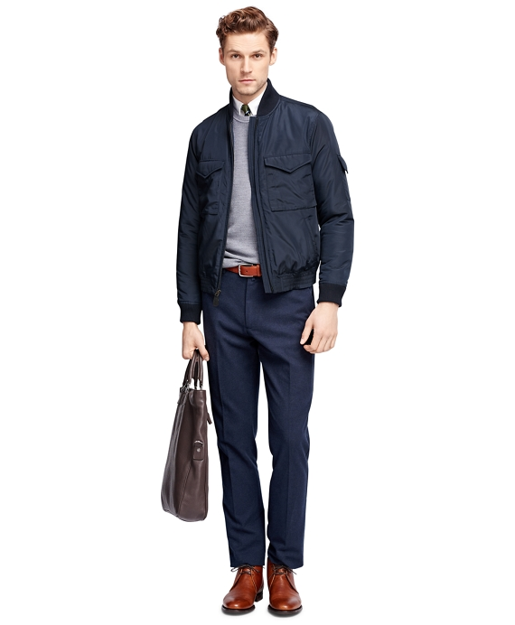 Men's Navy Blue Bomber Jacket | Brooks Brothers
