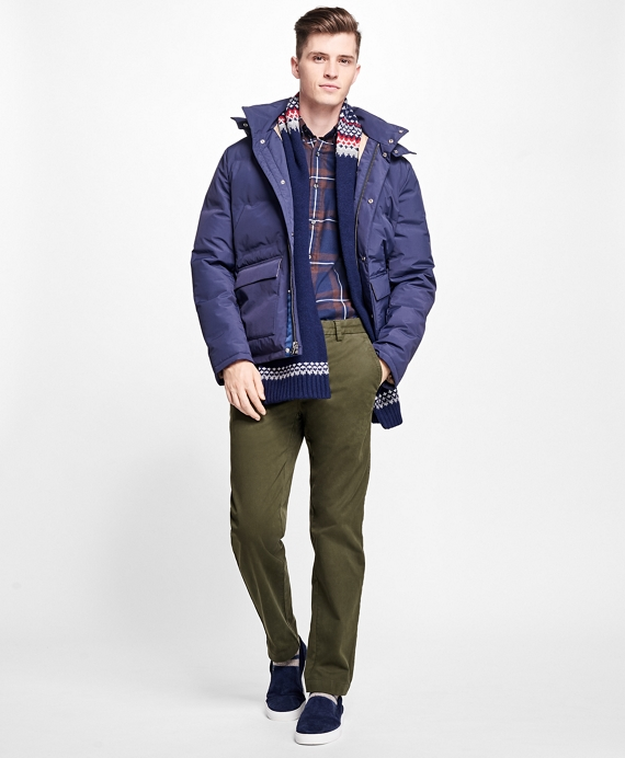 Channel Quilted Down Jacket Navy