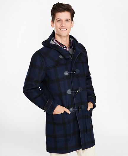 Double-Faced Wool-Blend Plaid Duffle Coat