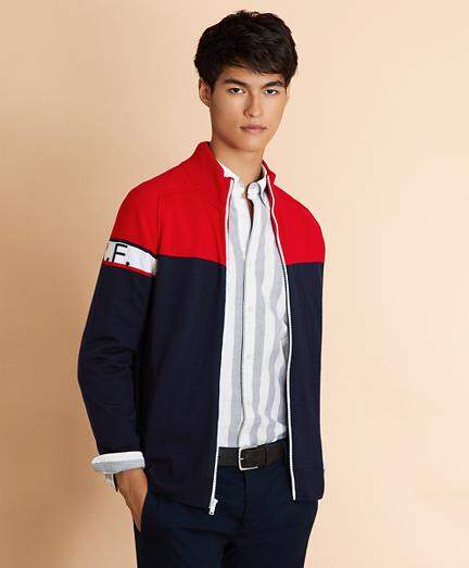 Color-Block Merino Wool Full-Zip