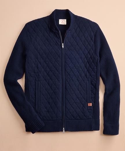 Merino Wool-Blend Bomber Sweater Jacket